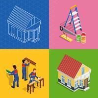 Set di icone di concetto isometrico di ristrutturazione