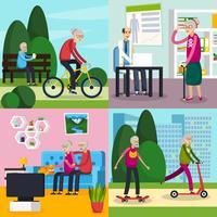 Insieme di composizione ortogonale di persone anziane invecchiate vettore