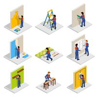 Set di icone isometriche di rinnovamento