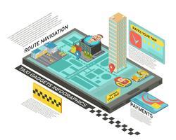 Servizio taxi online infografica isometrica vettore