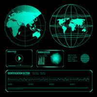 Cerca set di elementi blu sullo schermo radar vettore