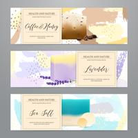 Set di banner realistico di imballaggio di sapone vettore