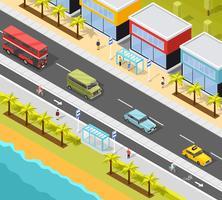 Sfondo di trasporto città resort vettore