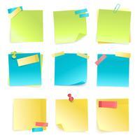 Set di note adesive vettore