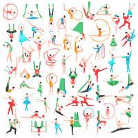 Grande set di ginnastica e balletto vettore