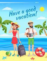 Turisti durante l'illustrazione di vacanza estiva vettore