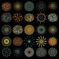 Raccolta rotonda delle icone del fuoco d'artificio festivo vettore