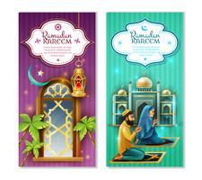 Set di banner verticali Ramadan Kareem 2 vettore