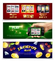 Set di banner di slot machine vettore