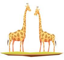 Composizione di animali coppia di giraffe vettore