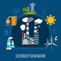 Composizione piatta Generazione di energia elettrica vettore