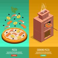 Set di banner di cottura della pizza vettore