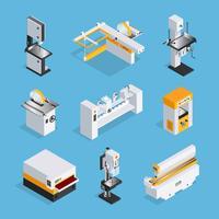 Insieme isometrico moderno di macchinari per la lavorazione del legno vettore