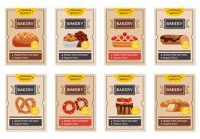 Set di poster di prodotti da forno vettore