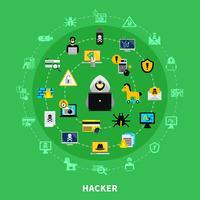 Set di icone rotonde hacker