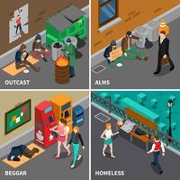 Concetto di design isometrica persone senzatetto