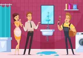 Coppia dell'idraulico e della famiglia nell'interno del bagno