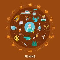 Composizione rotonda di icone di pesca