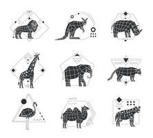 Animali emblemi monocromatici poligonali vettore