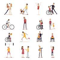 Set di icone di persone disabili vettore