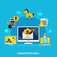 Concetto di design di posta pericolosa