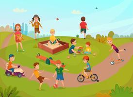 Bambini che giocano composizione vettore