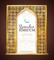 Ramadan Kareem Golden Frame Traditional Ornament vettore