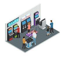 Game Club Interior Concept vettore