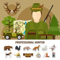 Illustrazione professionale del concetto di cacciatore vettore