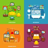 Set di icone di concetto interno vettore