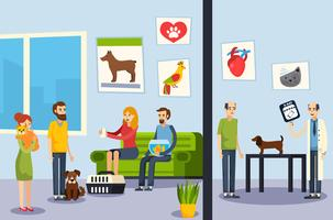 Clinica veterinaria Poster ortogonale piatto