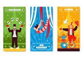 Collezione di bandiere verticali del circo vettore
