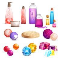 Set di prodotti di bellezza per il bagno vettore
