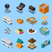 Set isometrica di pic-nic barbecue