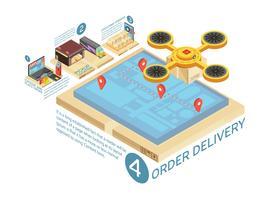 Infographics isometrico di consegna online di merci