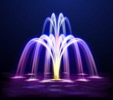 Illustrazione realistica della fontana di notte di Lit
