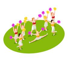 Illustrazione isometrica cheerleading vettore