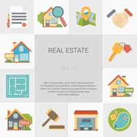 Set di icone quadrate Real Estate vettore