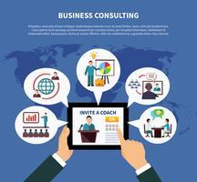 Concetto di consulenza aziendale in tutto il mondo vettore