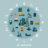 Composizione rotonda di icone del petrolio vettore