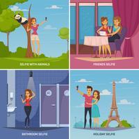 Set di icone di concetto di selfie vettore