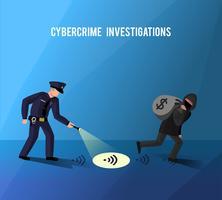 Poster piatto di hacker di prevenzione di crimine informatico