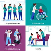 Fisioterapia riabilitazione 4 icone piane quadrate vettore