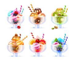 set di bicchieri di gelato sorbetto vettore