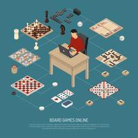 Composizione in linea di giochi da tavolo vettore