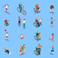 Set isometrico di persone disabili