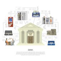 infographics di banca piatta vettore
