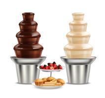 Composizione realistica di cioccolato nero bianco fontana vettore