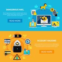 Insegne piatte di hackeraggio e posta pericolosi