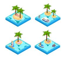 Insieme isometrico di vacanza dell'isola vettore
